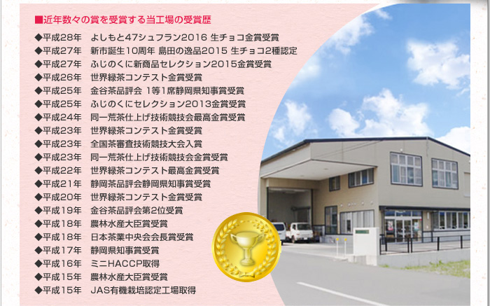 近年数々の賞を受賞する当工場の受賞歴