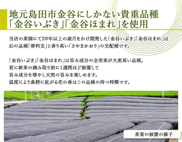 地元島田市金谷にしかない貴重品種「金谷いぶき」「金谷ほまれ」を使用